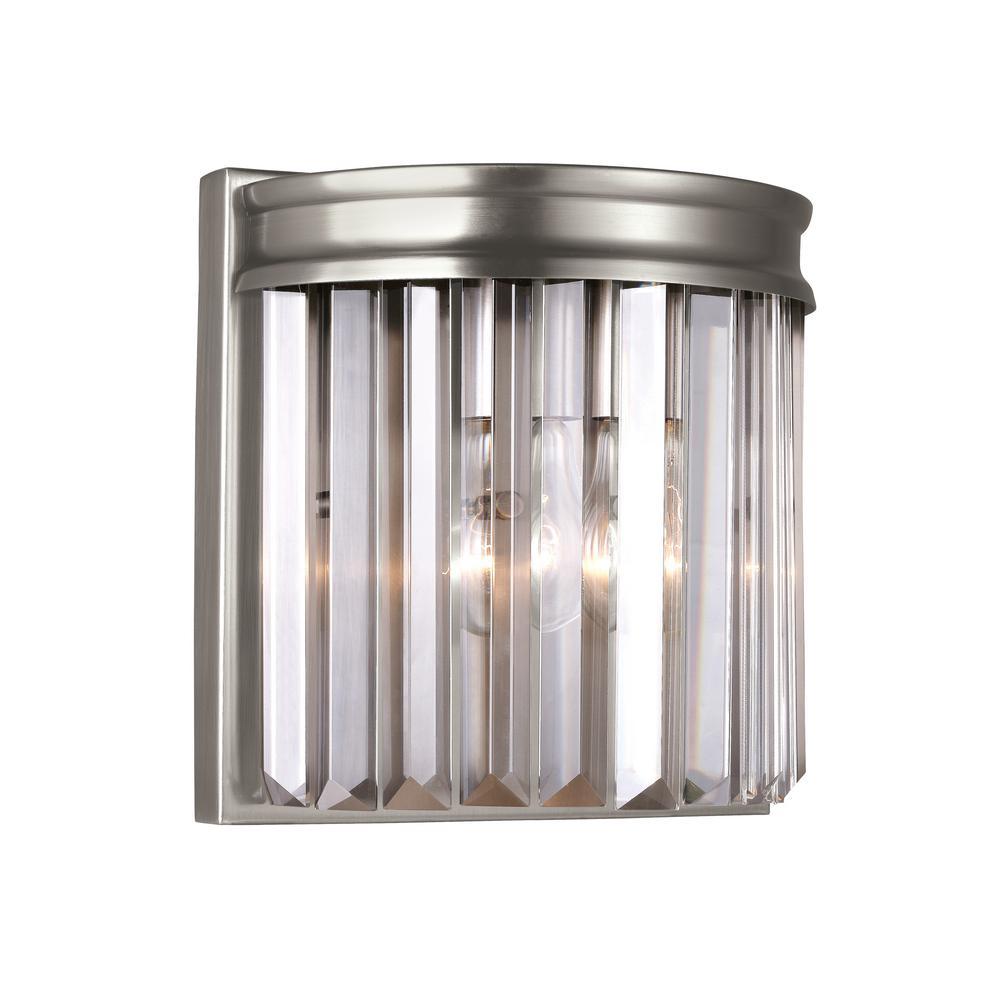 Carondelet 1-Light Antique Brushed Nickel Sconce with LED Bulb