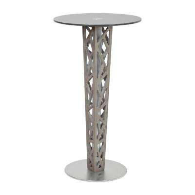 Crystal Gray Walnut Veneer Column and Brushed Stainless Steel with Gray Tempered Glass Top Pub Table