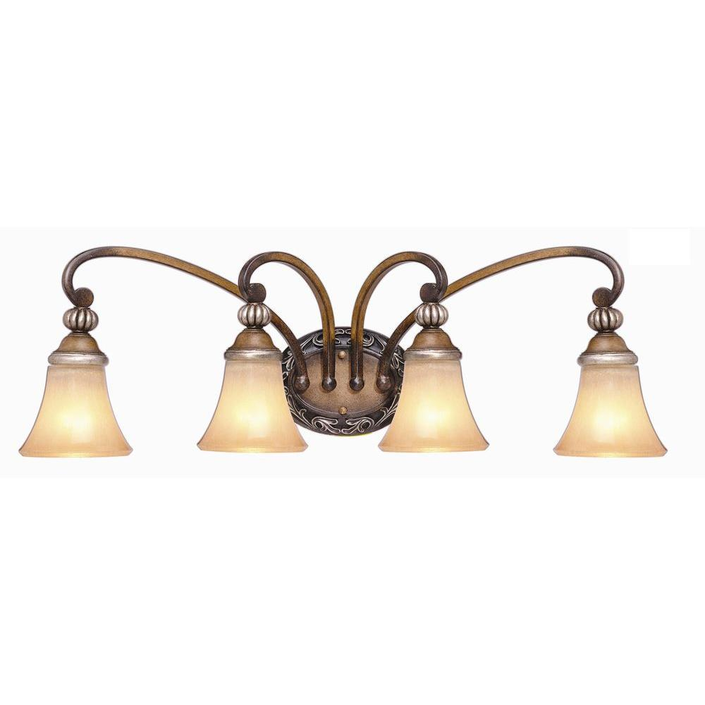 Hampton Bay 4 Light Caffe Patina Finish Vanity Light With Avorio Glass Shades 15111 The Home Depot