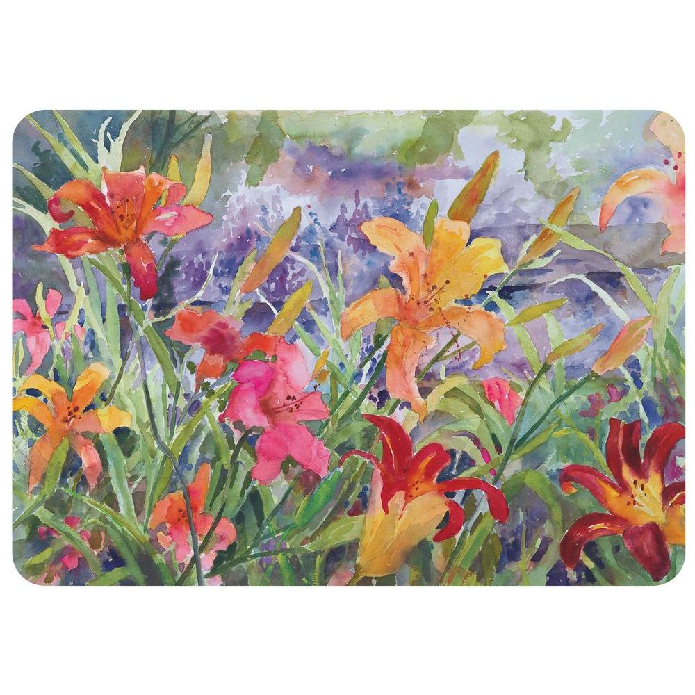 Day Lilies 22 in. x 31 in. Polyester Surface Mat, Multi Color