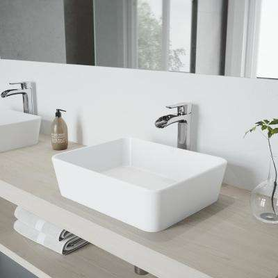 Marigold Matte Stone Vessel Sink and Chrome Niko Faucet Set with Pop-up Drain in Matte White