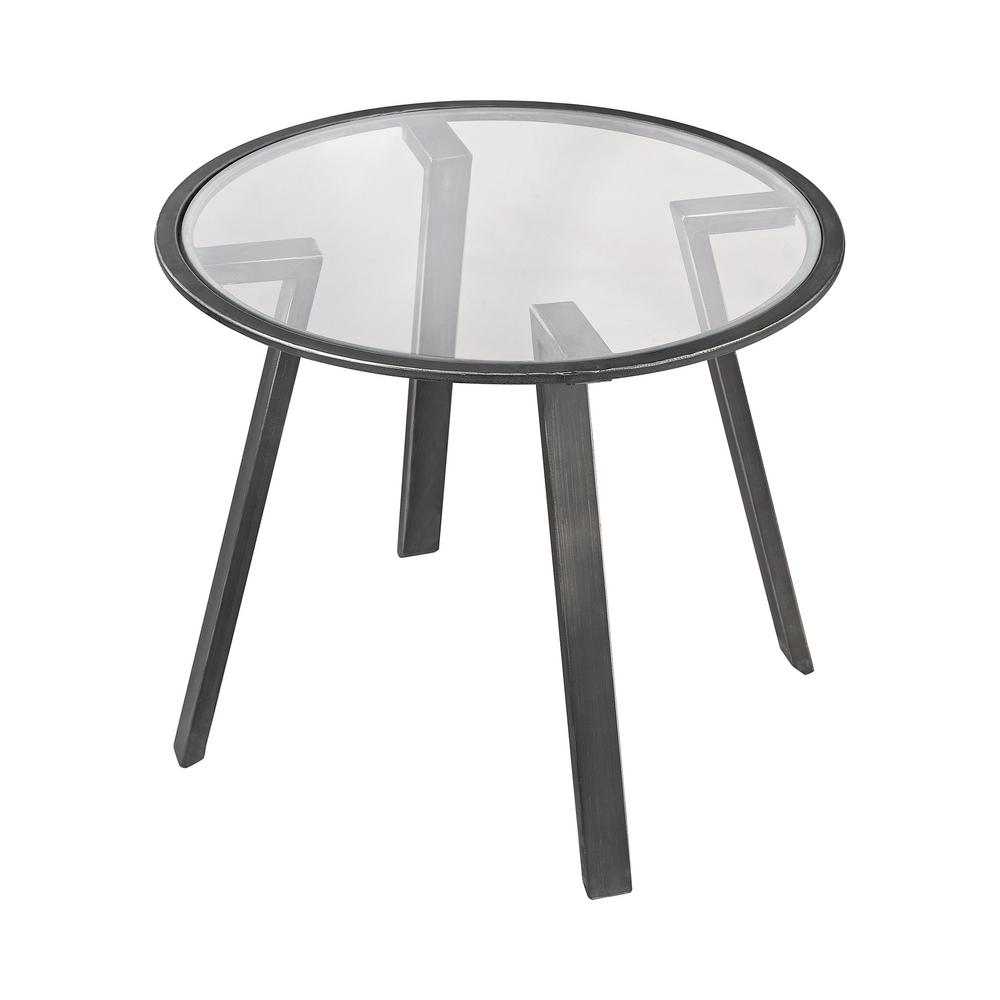 An Lighting Geometric Pewter And Gl Side Table