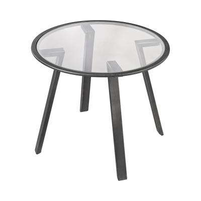 Geometric Pewter and Glass Side Table