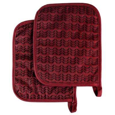 Quilted Silicone Burgundy Heat Resistant Pot Holder Set (2-Pack)