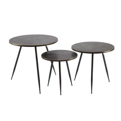 26 in H, 23 in. H, 20 in. H Black Metal Round Nesting Tables (Set of 3)