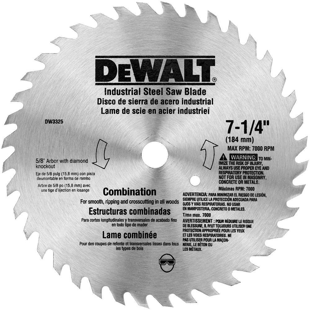 Dewalt 7 14 in 40 teeth steel combo saw blade dw3325 the home depot dewalt 7 14 in 40 teeth steel combo saw blade keyboard keysfo Image collections