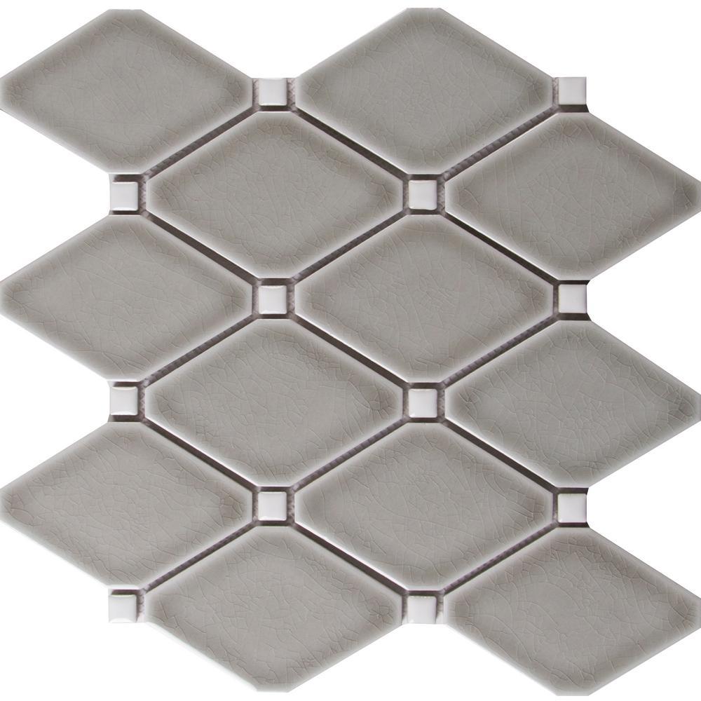 Dove Gray 12.28 in. x 12.8 in. x 8mm Glazed Ceramic Mesh-Mounted Mosaic Tile (10.9 sq. ft. / case)