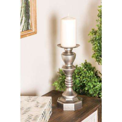 Gray Baluster-Style Fir Wood Candle Holders (Set of 3)