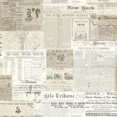 56.4 sq. ft. Gazette Khaki Vintage Newsprint Wallpaper