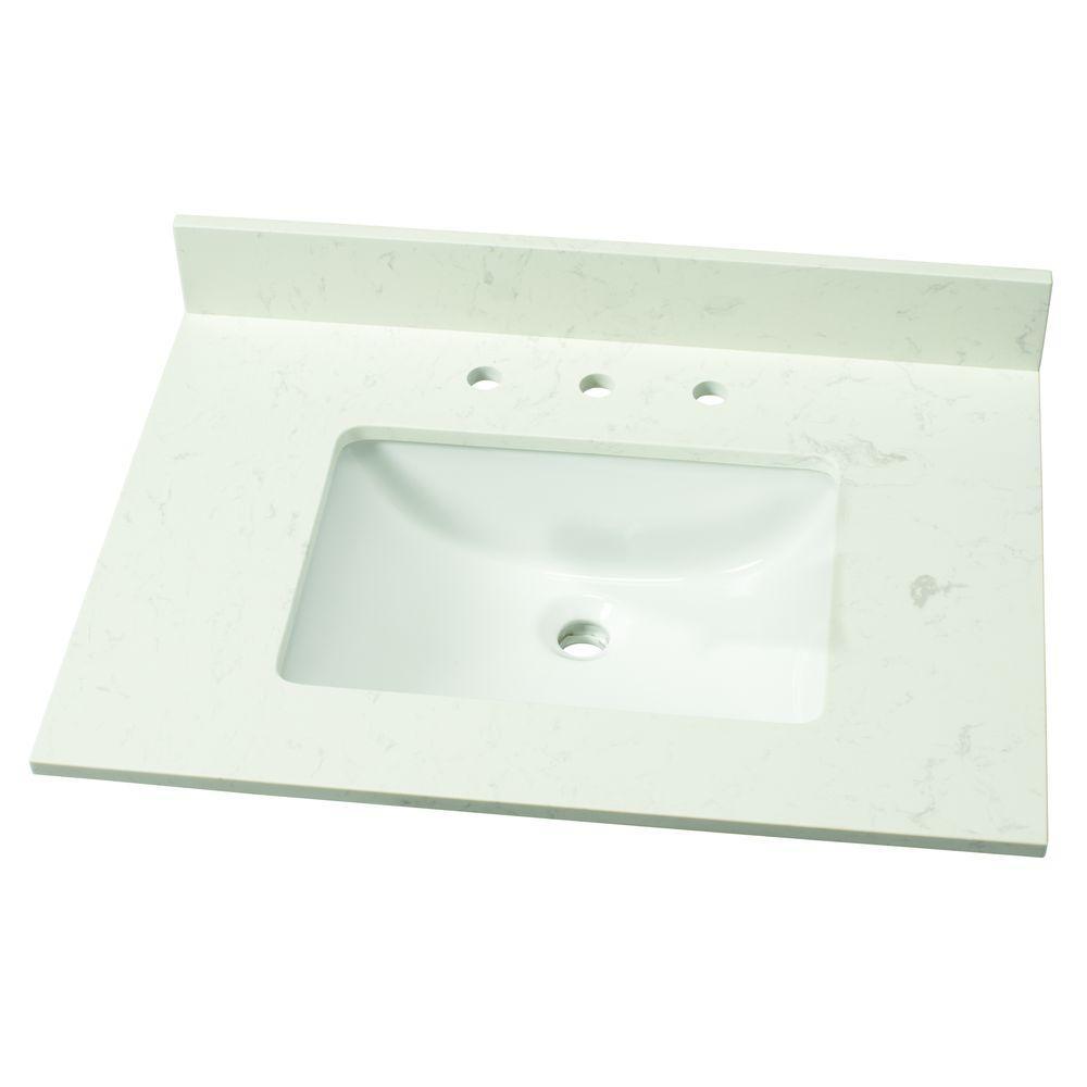 31 in. W Engineered Marble Single Vanity Top in Vanilla Sky with White Sink