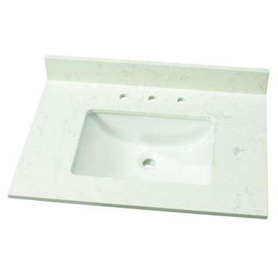 31 in. W Engineered Marble Single Vanity Top in Vanilla Sky with White Basin