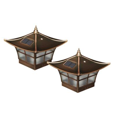 Ambience 4 in. x 4 in. Outdoor Electroplated Copper Solar Post Cap (2-Pack)
