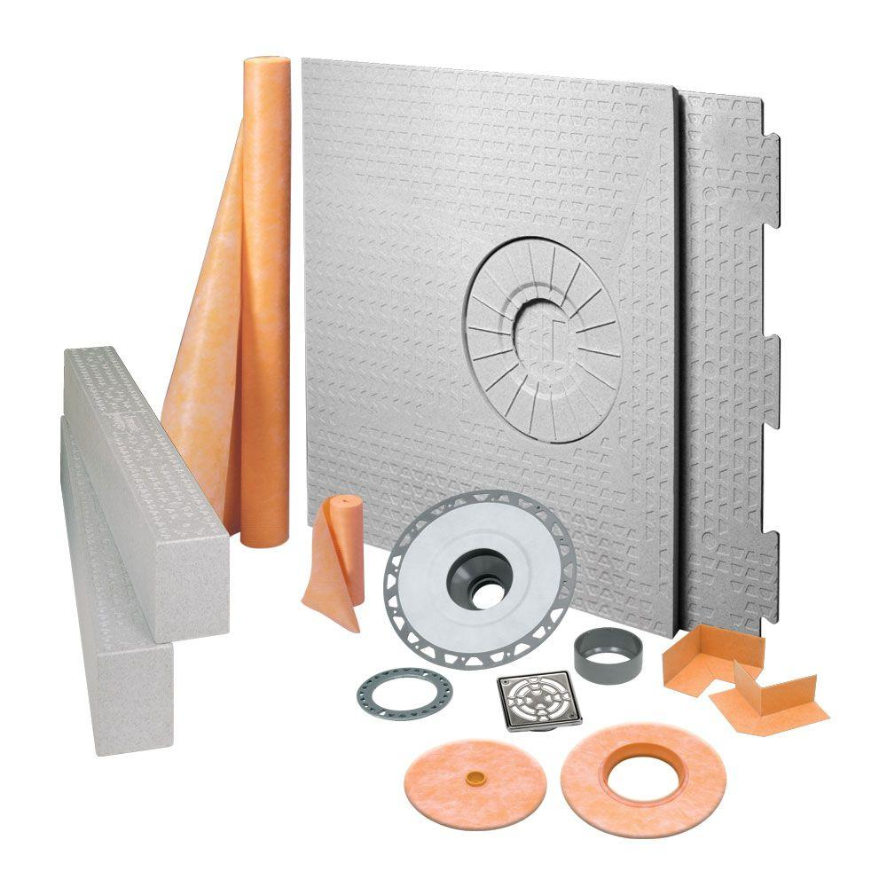 Schluter Kerdi-Shower 32 in. x 60 in. Off-Center Shower Kit in PVC with Stainless Steel Drain Grate