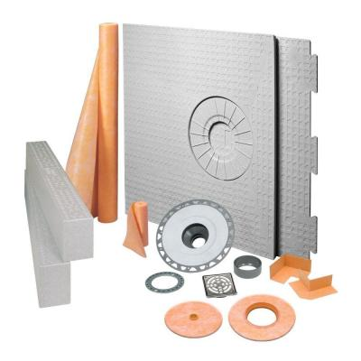 Kerdi-Shower 32 in. x 60 in. Off-Center Shower Kit in PVC with Stainless Steel Drain Grate
