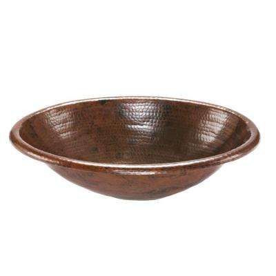 Self-Rimming Oval Hammered Copper Bathroom Sink in Oil Rubbed Bronze