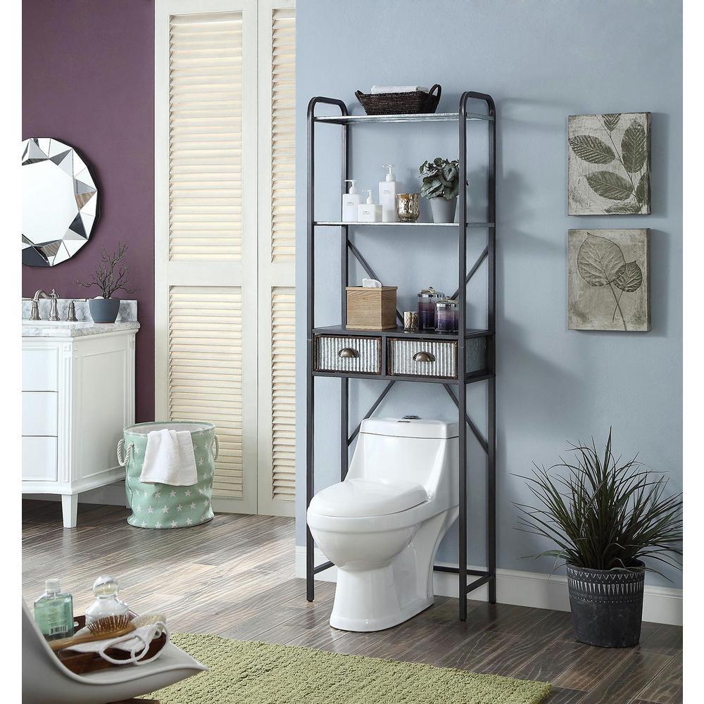 W Silver Space Saver Bathroom Cabinet