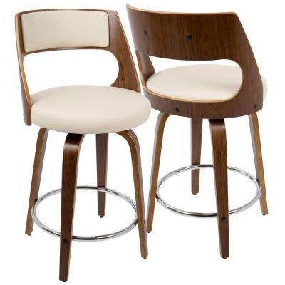 Cecina Walnut and Cream Swivel Seat Counter Stool