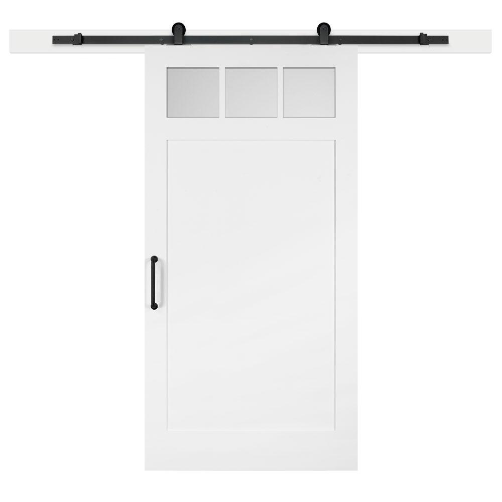 Jeff Lewis 42 in. x 84 in. White Collar Craftsman 3-Lite Clear  Solid-Core MDF Sliding Barn Interior Door with Hardware Kit