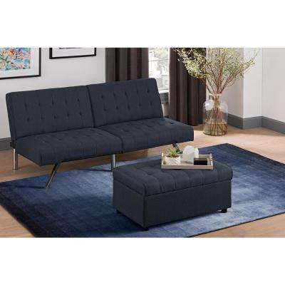 Eva Navy Linen Rectangular Storage Ottoman