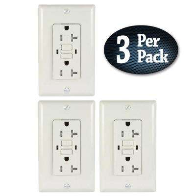 20 Amp 125 VDC GFCI Electrical Wall Duplex Outlet Indoor Tamper-Resistant Wall Plate White (3-Pack)