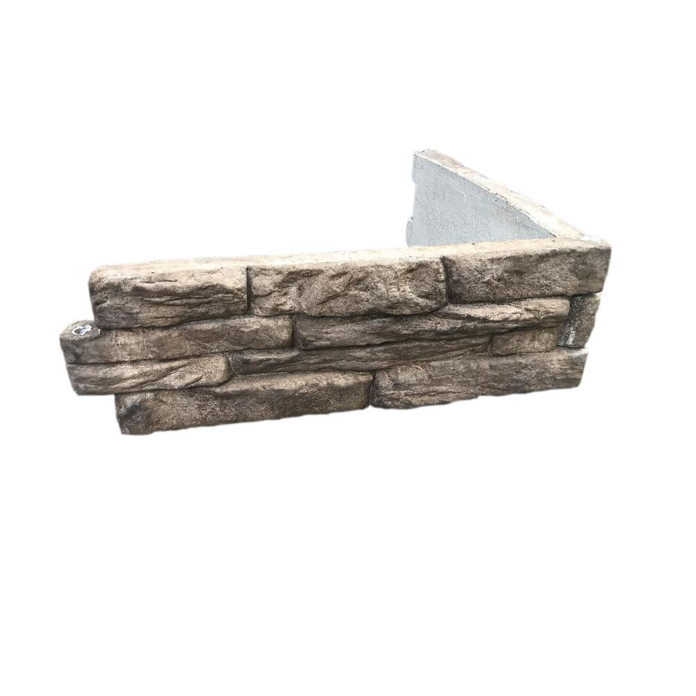 Landecor Ledge Stone 24 in. W x 8 in. H x 2 in. D Tan/Gray Concrete Raised Garden Bed, Planter Box Stones (4-Pack)