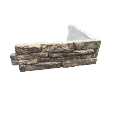 Ledge Stone 24 in. W x 8 in. H x 2 in. D Tan/Gray Concrete Raised Garden Bed, Planter Box Stones (4-Pack)