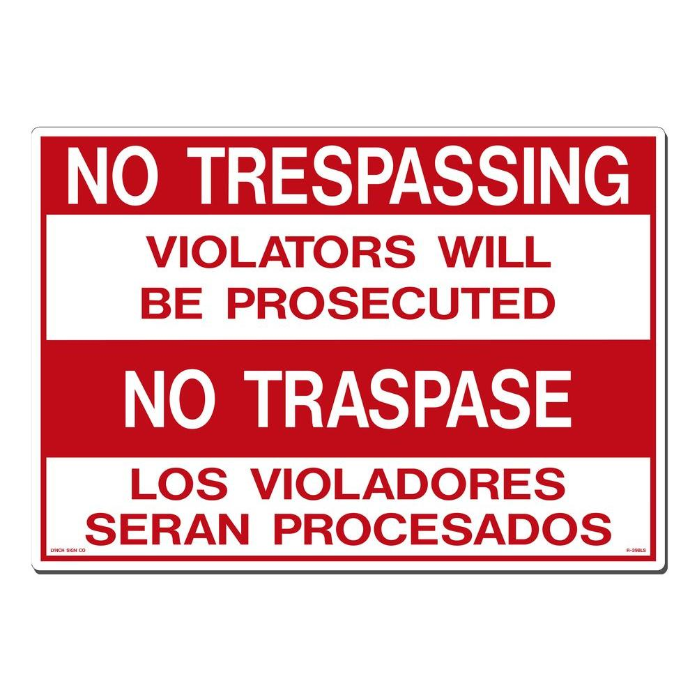 photograph about Printable No Trespassing Sign named Lynch Signal 20 inside. x 14 inside. No Tresping - No Traspase Indication Posted upon Added Tough, Thicker, Lengthier Long term Styrene Plastic