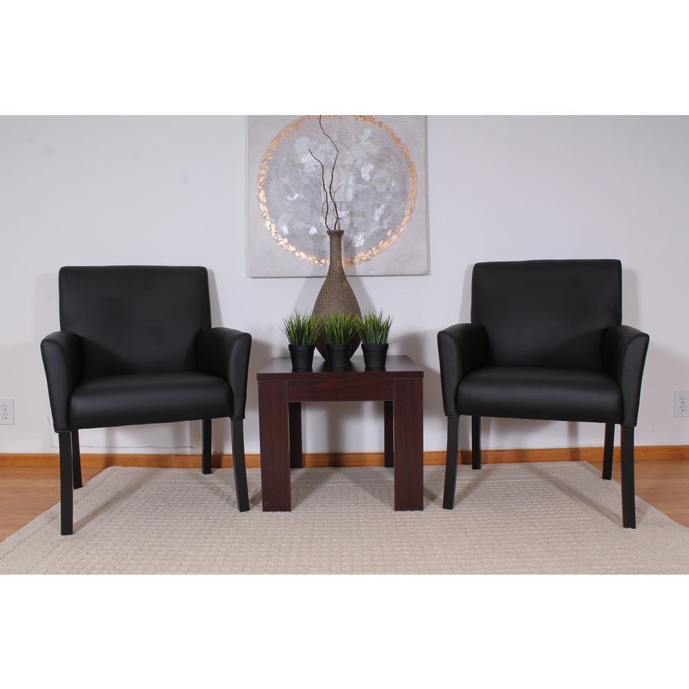 Designer Guest Chair. Black Vinyl. Black Finish. Comfort Cushions.