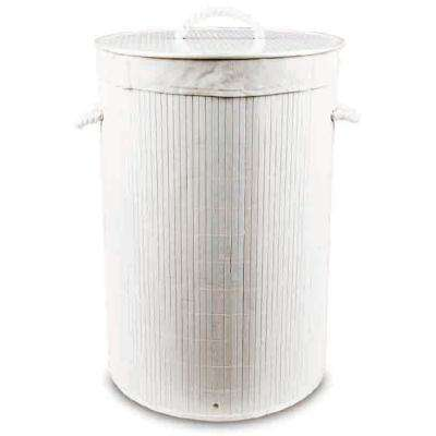 Round White Collapsible Bamboo Laundry Hamper with Lid