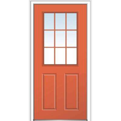 32 in. x 80 in. Classic Right-Hand Inswing 9-Lite Clear External Grilles Painted Fiberglass Smooth Prehung Front Door