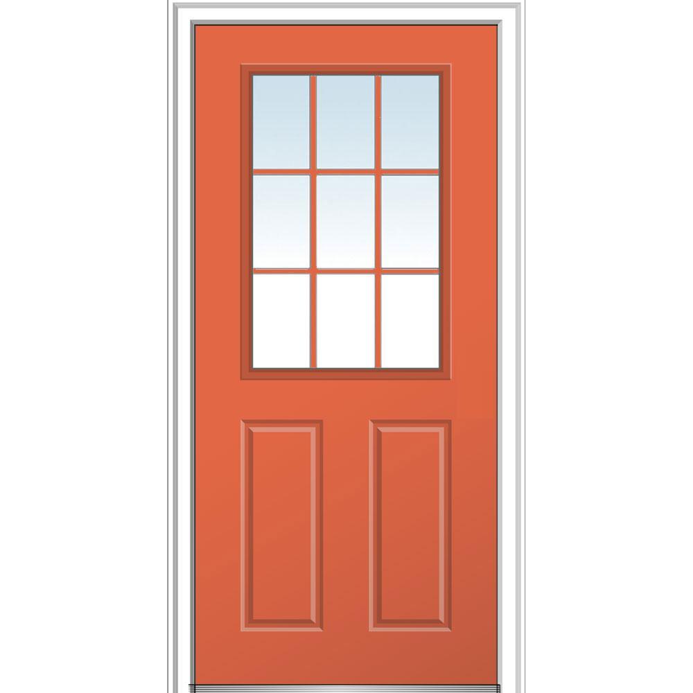 36 in. x 80 in. Clear 1/2 Lite 2-Panel 9-Lite Left-Hand Classic Painted Fiberglass Smooth Prehung Front Door