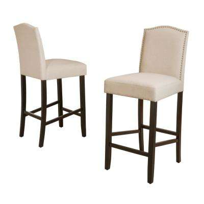 Markson 30 in. Beige Studded Bar Stool (Set of 2)