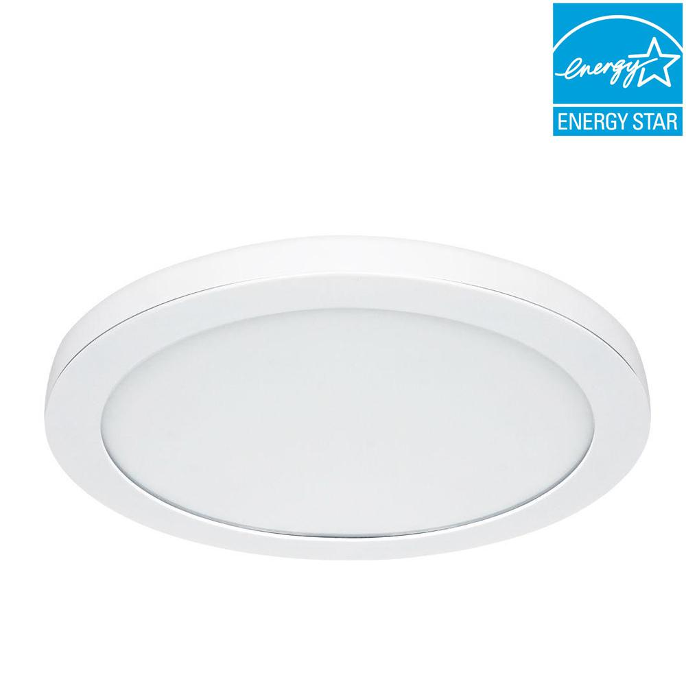 White Led Edge Lit Flat Round Panel Flushmount