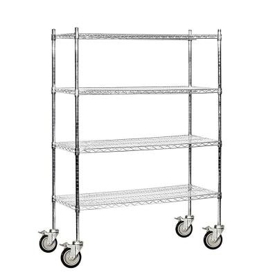 48 in. W x 69 in. H x 18 in. D Industrial Grade Welded Wire Mobile Wire Shelving in Chrome