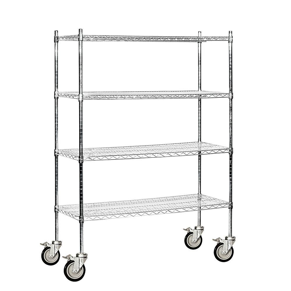 Salsbury Industries 9500M Series 48 in. W x 69 in. H x 18 in. D Industrial Grade Welded Wire Mobile Wire Shelving in Chrome