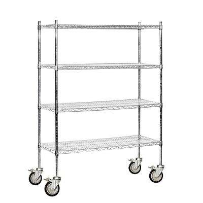 9500M Series 48 in. W x 69 in. H x 18 in. D Industrial Grade Welded Wire Mobile Wire Shelving in Chrome