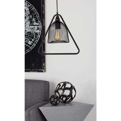 15 in. Black Pendant Light with Inverted Dome-Shaped Shade and Triangular Iron Outer Frame