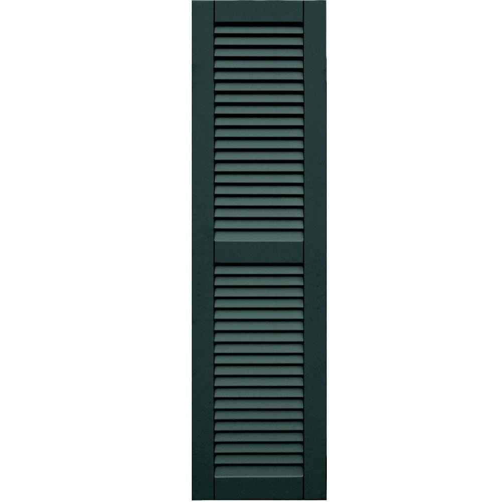 Winworks Wood Composite 15 in. x 56 in. Louvered Shutters Pair #638 Evergreen