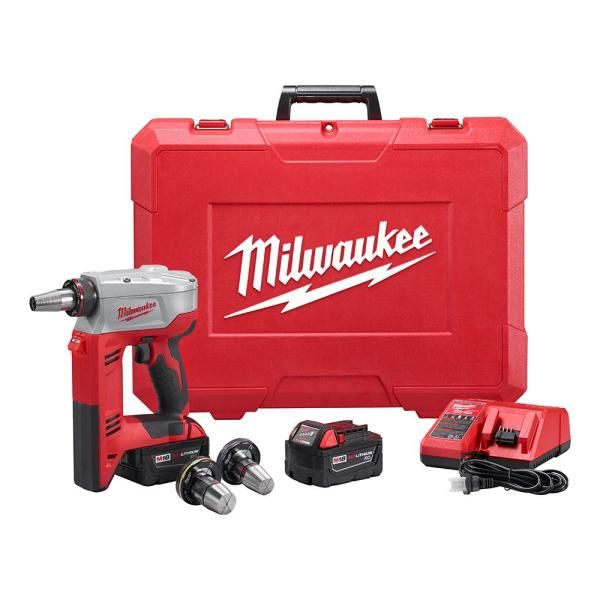 M18 18-Volt Lithium-Ion Cordless 3/8 in. to 1-1/2 in Expansion Tool Kit with 3 Heads, Two 3.0Ah Batteries