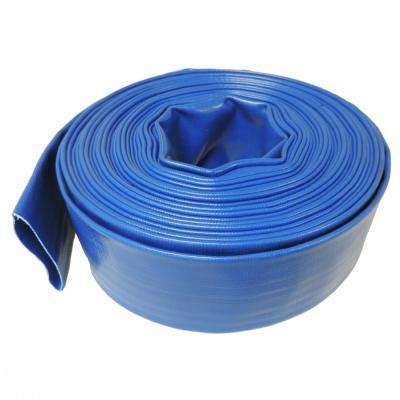 2 in. Dia x 50 ft. Blue 6 Bar Heavy-Duty Reinforced PVC Lay Flat Discharge and Backwash Hose