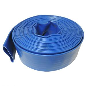 2 in. Dia x 100 ft. Blue 6 Bar Heavy-Duty Reinforced PVC Lay Flat Discharge and Backwash Hose