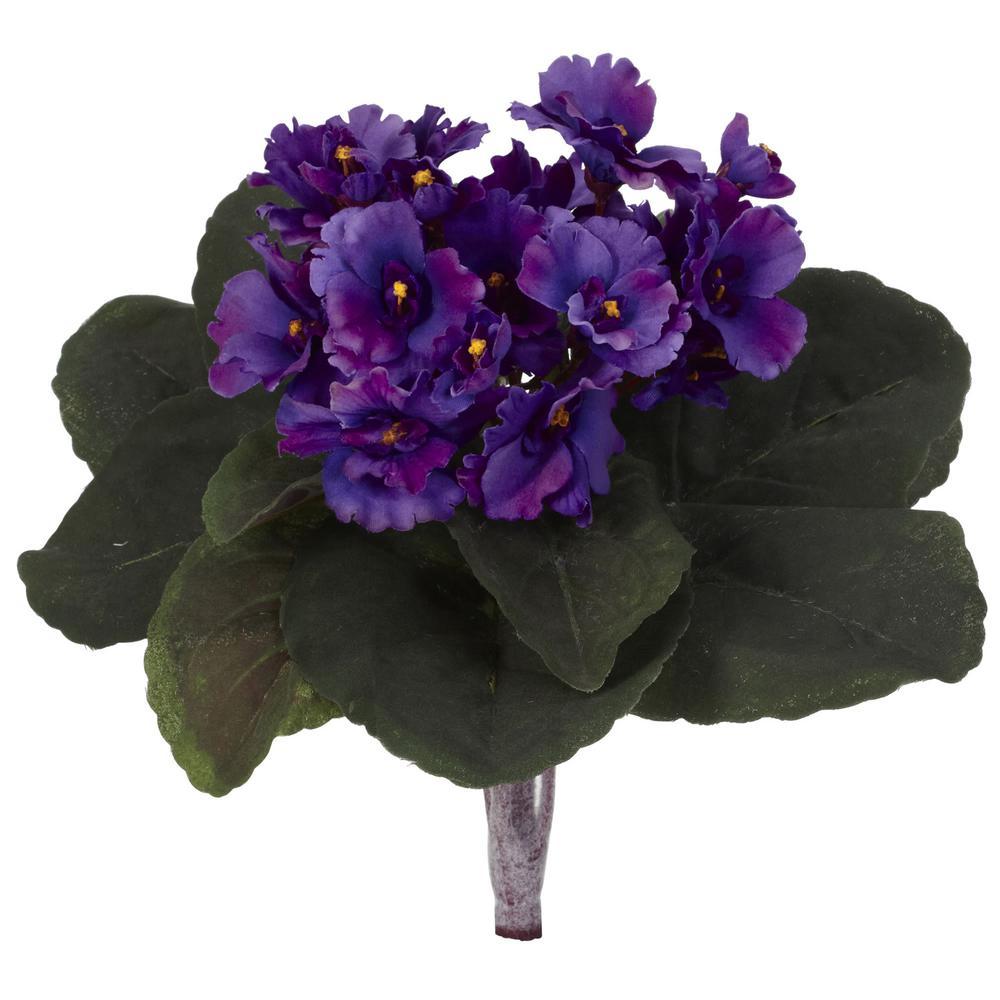 Indoor 9 in. African Violet Artificial Plant (Set of 6)