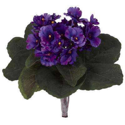 Indoor 9 in. African Violet Artificial Plant (Set of 6)
