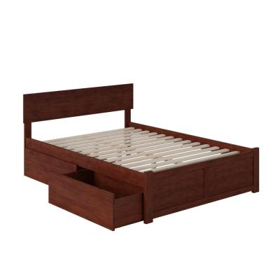 Orlando Walnut Full Platform Bed with Flat Panel Foot Board and 2 Urban Bed Drawers