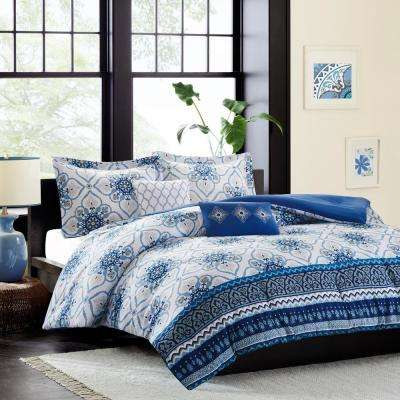 Nicole 5-Piece Blue Full/Queen Asian Influence Coverlet Set