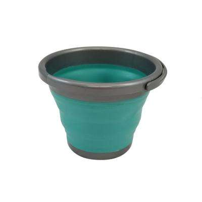 Store N Stow 5 l Round Collapsible Bucket with Handle in. Grey and Teal Base (12-Pack)