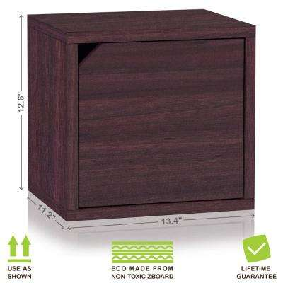 Connect System 11.2 in. x 13.4 in. x 13.4 in. zBoard  Stackable Storage Cube Organizer Unit with Door in Espresso Grain