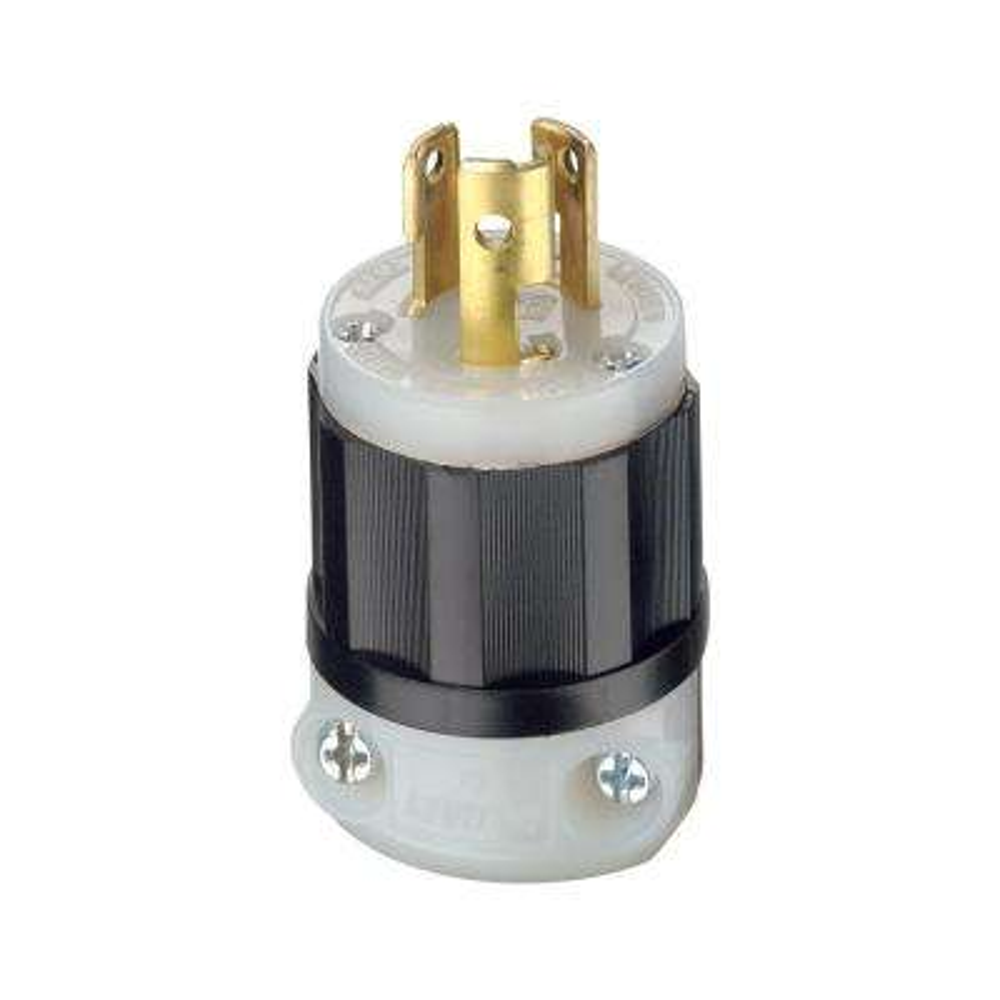 15 Amp 277-Volt Locking Grounding Plug, Black/White