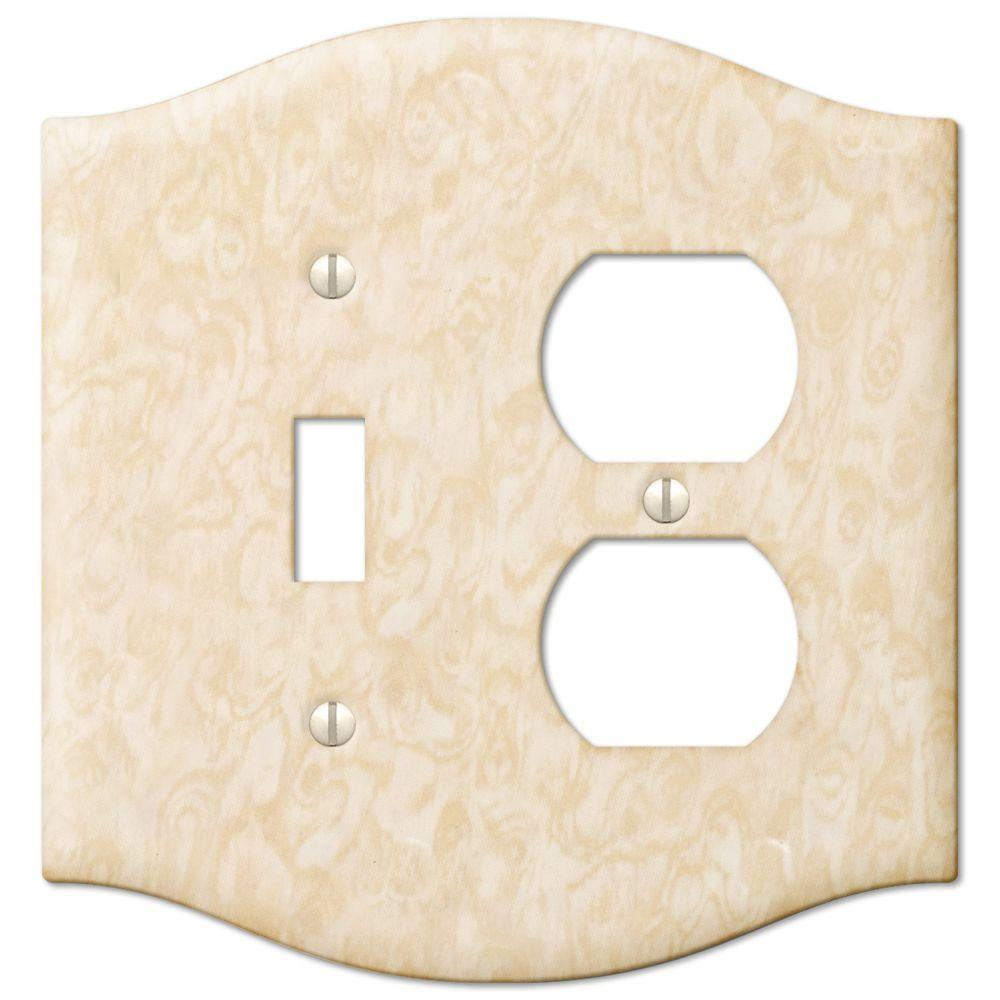 Creative Accents Steel 1 Toggle 1 Duplex Wall Plate - Satin Honey