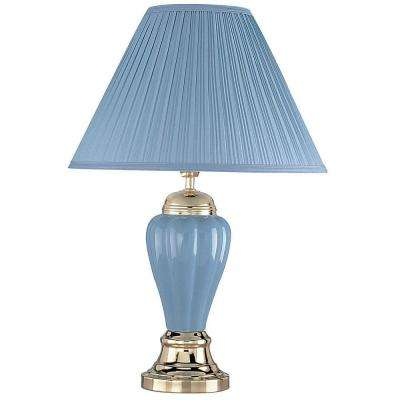 27 in. Ceramic Blue Table Lamp